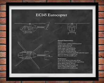 EC145 Eurocopter Print, EC-145 Helicopter Blueprint, Helicopter Pilot Gift, Helicopter Decor, Medical Helicopter Drawing