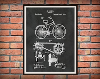 1890 Bicycle Patent Print - Bicycle Blueprint - 1890 Bicycle Poster - Bicycle Shop Decor - Bicyclist Gift Idea - Antique Bicycle Drawing