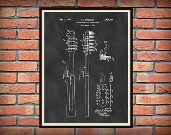 1953 Toothbrush Patent Print - Bathroom Decor - Home Decor - Washroom Decor - Toothbrush Poster Print - Dentist Office Decor
