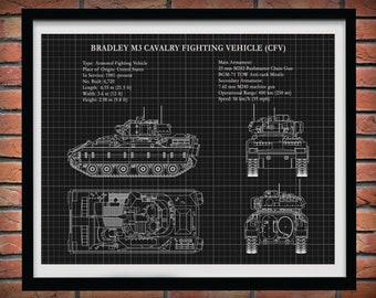 M3 Bradley Fighting Vehicle Poster, Bradley CFV Tank Blueprint, Cavalry Fighting Vehicle Tank Art Print, M3A2 Bradley IFV Tank Drawing