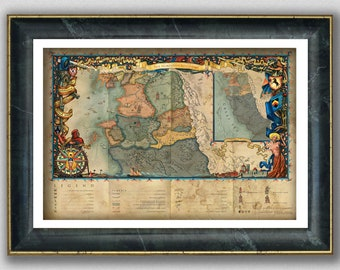 The World of The Witcher Map, The Northern Kingdoms, Witcher 3 Wild Hunt Art Print, The Witcher Wall Art, Fantasy Décor, Geek Gamer Gift
