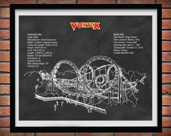 Vortex Roller Coaster Drawing, Kings Island Roller Coaster, Vortex Roller Coaster Blueprint, Thrill Rider Gift, Roller Coaster Decor