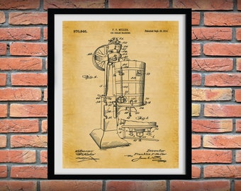 1910 Ice Cream Maker Patent Print,  Ice Cream Parlor Shop Decor, Ice Cream Maker Blueprint, Ice Cream Lover Gift Idea