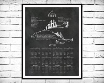Millennium Force Roller Coaster 12-Month Calendar - Roller Coaster Drawing - Steel Giga Coaster Calendar - Cedar Point Sandusky Ohio