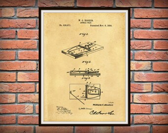 1894 Mouse Trap Patent Print - Antique Mouse Trap Poster - Rat Trap Blueprint - Rodent Killer - Orkin Wall Art - Exterminator Wall Art