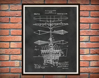 Patent 1909 Airship - Flying Machine Art Print - Poster Print - Airplane - Air Ship
