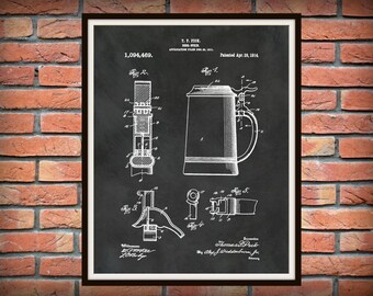 Patent 1914 Beer Stein - Art Print Poster - Man Cave - Sports Bar Art - Craft Beer Wall Art - Oktoberfest Art - German Guest House Wall Art