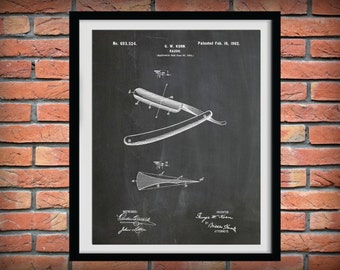Patent 1902 Straight Razor - Art Print - Bathroom Wall Art  - Poster Print - Wall Art - Barber Shop Wall Art - Shaver - Shaving Device