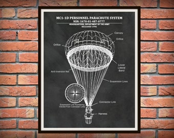 MC1-1D Parachute Drawing Personnel Parachute System - US Military Parachute Blueprint - Paratrooper Decor - Airborne Decor - Skydiver Gift