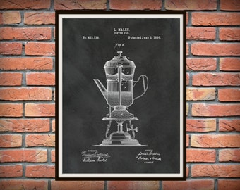 Patent 1890 Coffee Urn Patent - Coffee Pot - Art Print - Kitchen - Cooking - Poster - Restaurant Art - Coffee Shop Art - Housewares