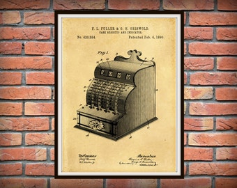 Patent 1890 Cash Register - Art Print - Poster - Grocery Store Art - Antique Cash Register - Calculator - Coffee Shop Art - gift store art