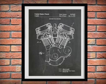 1999 Harley Engine Patent Print -  Harley Davidson Motorcycle Twin Cam, Harley Twin Cam Engine Poster - Harley Decor - Harley Gift Idea