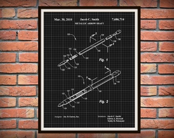 2010 Metal Arrow Shaft Patent by Easton - Art Print - Poster - Wall Art - Hunting Camp Art - Man Cave - Deer Hunter Art