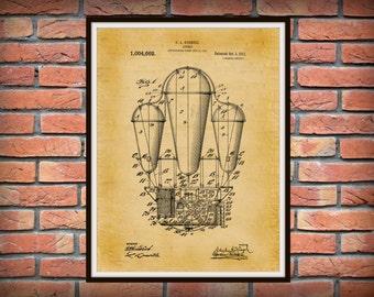 Patent 1911 Airship - Hot Air Balloon Patent - Dirigible - Art Print - Poster Print - Aviation Wall Art