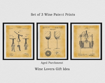 Set of 3 Wine Patent Prints - 1883 Corkscrew Patent - 1988 Wine Glass Patent - 1903 Wine Press Patent Print - Winery Decor - Wine Gift Idea