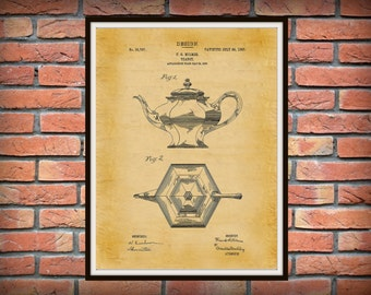 1907 Tea Pot Patent Print - Coffee Pot Patent Print - Kitchen Decor - Coffee Shop Decor - Barista Gift Idea - Farmhouse Decor