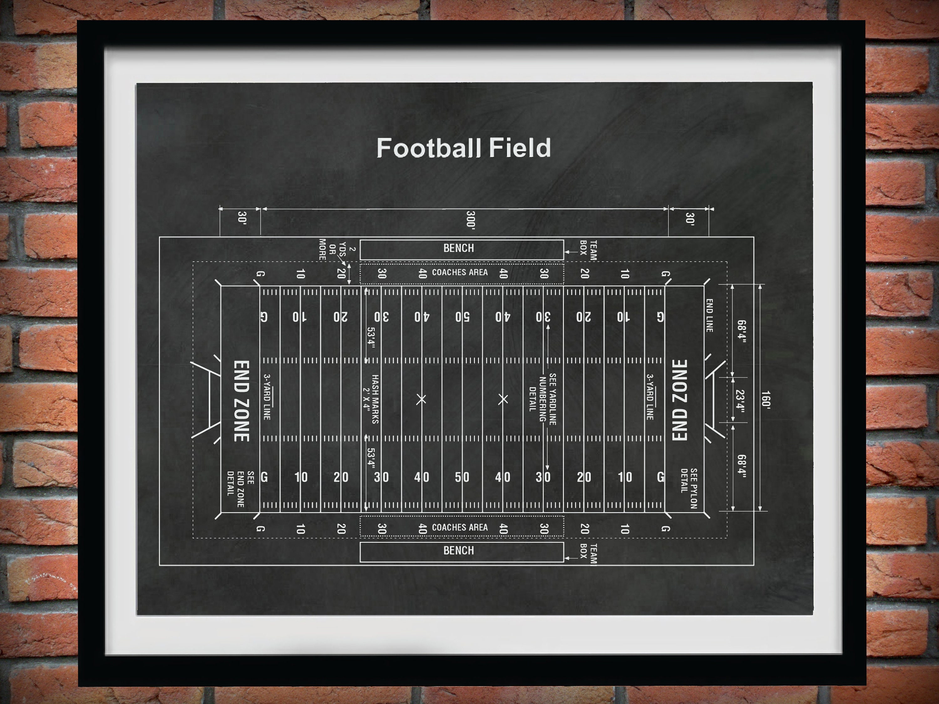 Football Field Blueprint Vers #2 - Game Room Decor - Super Bowl Gift