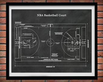 Official NBA Basketball Court Poster Print, Game Room Decor, NBA Basketball Court Blueprint, Decor, NBA Decor, Basketball Coach Gift