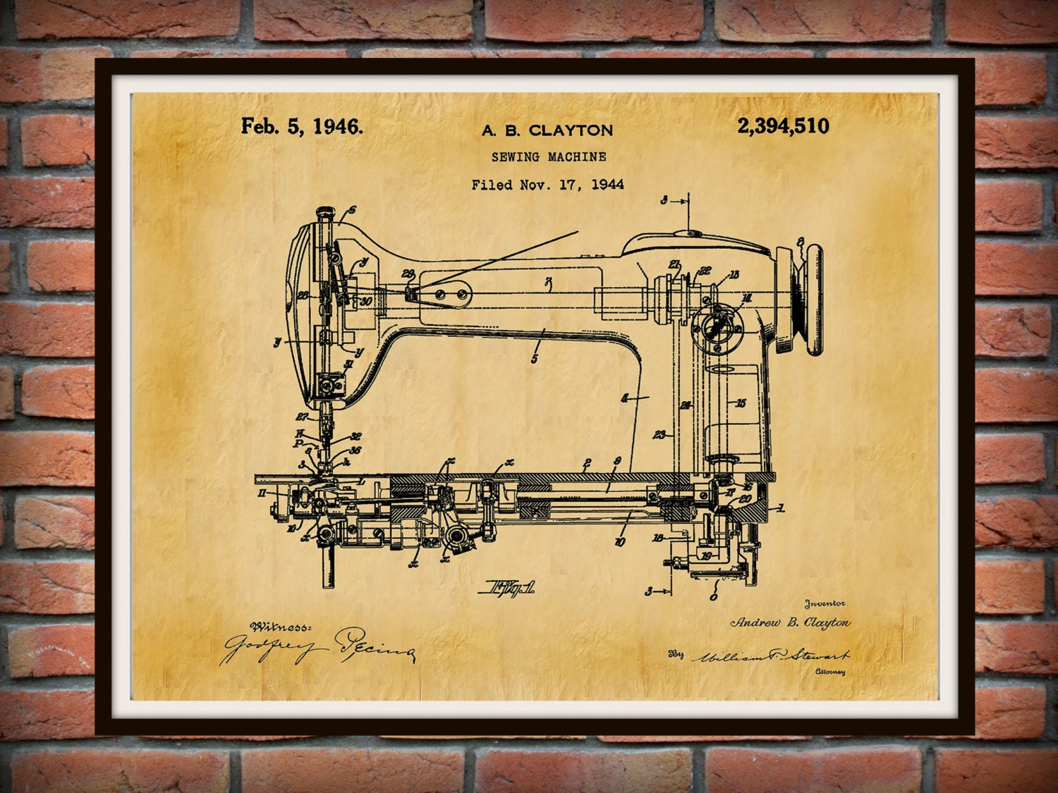 1944 Singer Sewing Machine Patent Print - Sewing Machine Poster ...