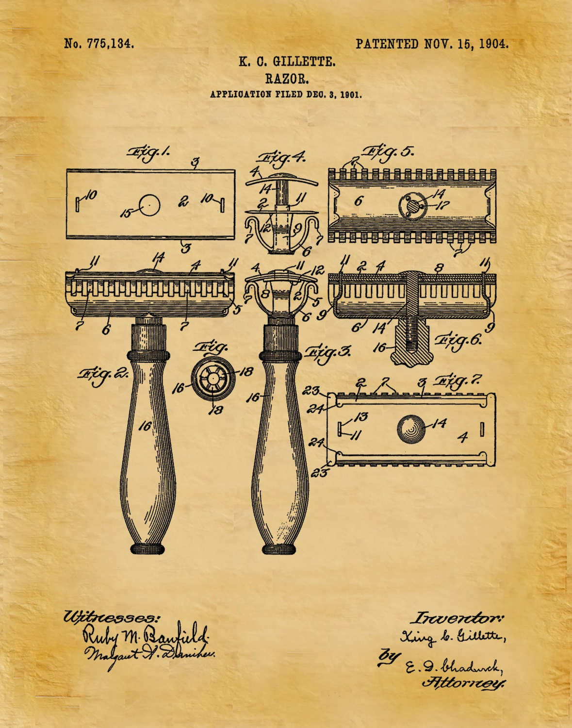 1904 Gillette Razor Patent Print - Bathroom Decor - Barber Shop ...