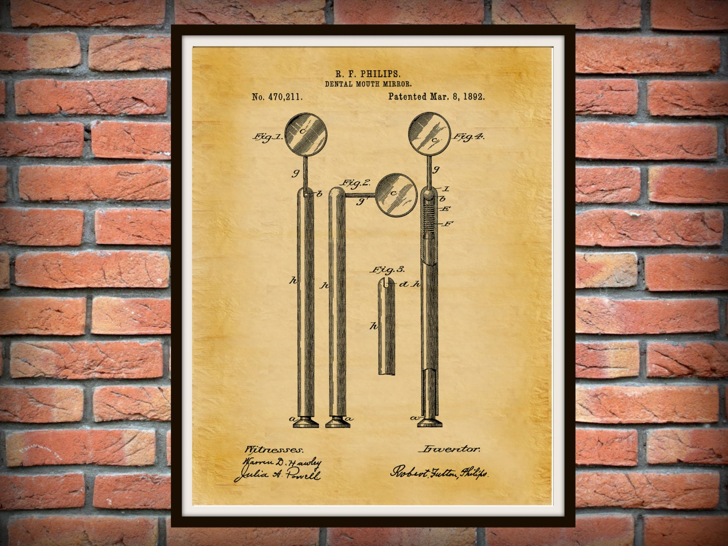 1892 Dental Mirror Patent Print - Dental Poster - Dentist Office ...