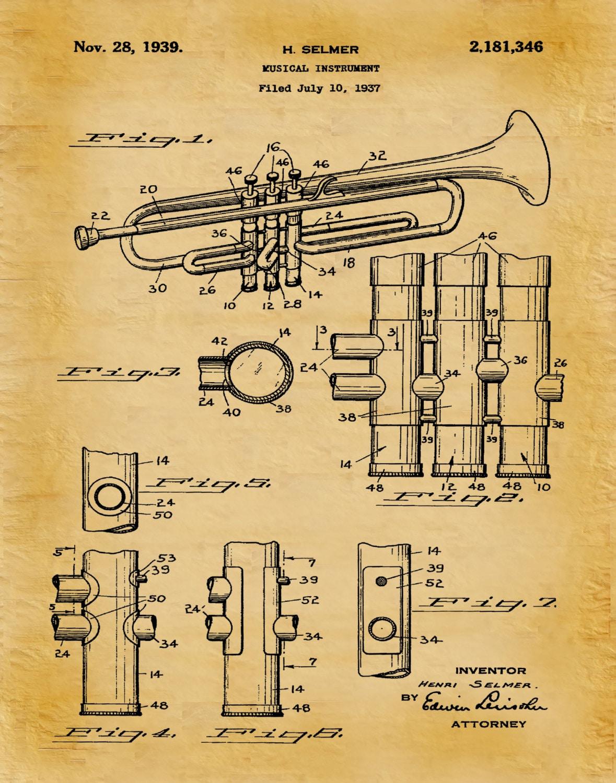 1939 Trumpet Patent Print - Musical Instrument - Brass Instrument ...