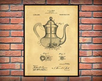 Patent 1912 Coffee Pot Percolator - Wall Art Print - Kitchen - Poster - Restaurant Wall Art - Coffee Shop Wall Art - Housewares