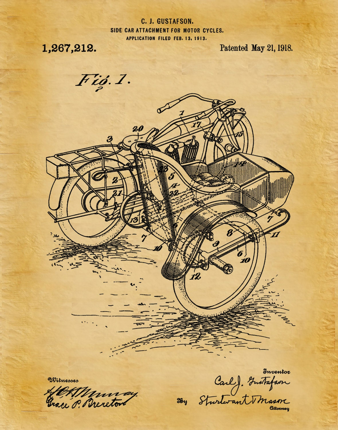 1918 Harley Motorcycle with Side Car Patent Print - Wall Art - Bike ...