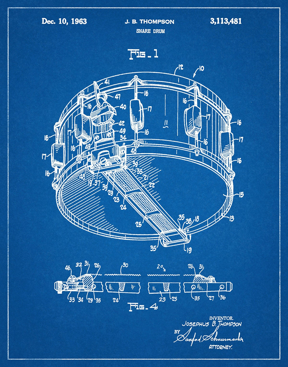 1963 Snare Drum Patent Print Marching Band Decor Music Room Photography For Diagram Gallery Photo