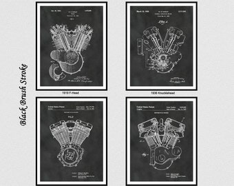 Harley Engine Patent Print Set of 4, 1919 F-Head Patent Print, 1936 Harley Knucklehead Poster, 1985 Evolution, 1999 Twin Cam Blueprint