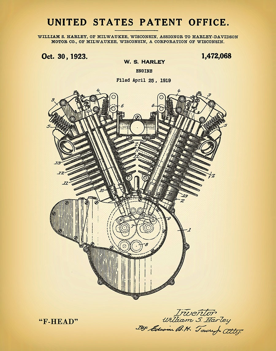 1919 Harley Engine Patent Print - Harley F-Head Engine Poster - Wall Art -  Harley Davidson - Hells Angels - Man Cave - Harley Shrine Decor