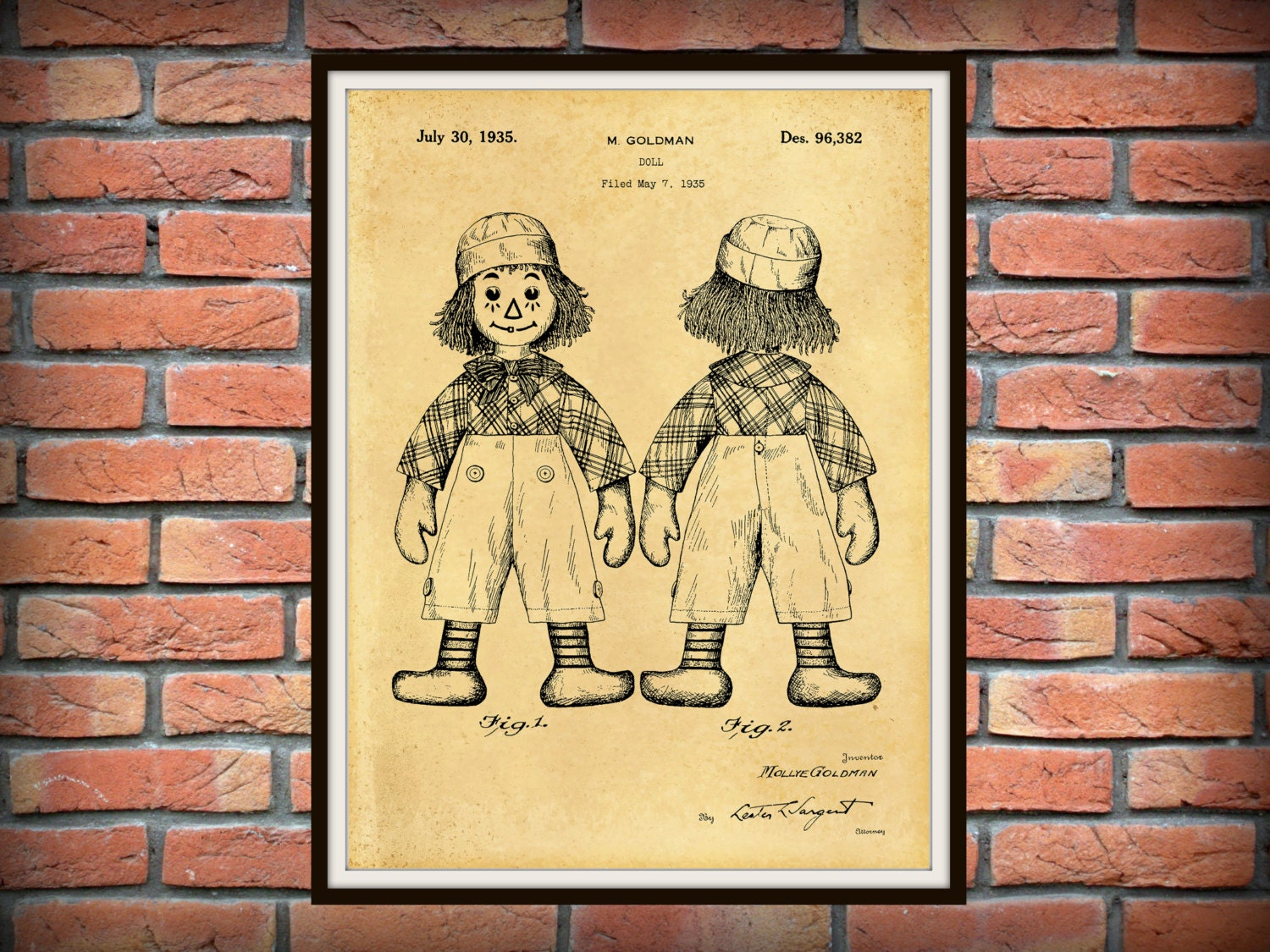 Patent 1935 Raggedy Andy Doll - Art Print Designed by Mollye Goldman ...