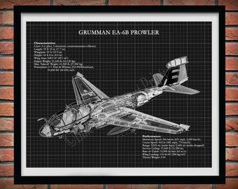 Grumman EA-6B Prowler Drawing Vers, Northrop Grumman EA-6B Prowler Blueprint, Grumman EA-6B Prowler Military Aircraft Schematic