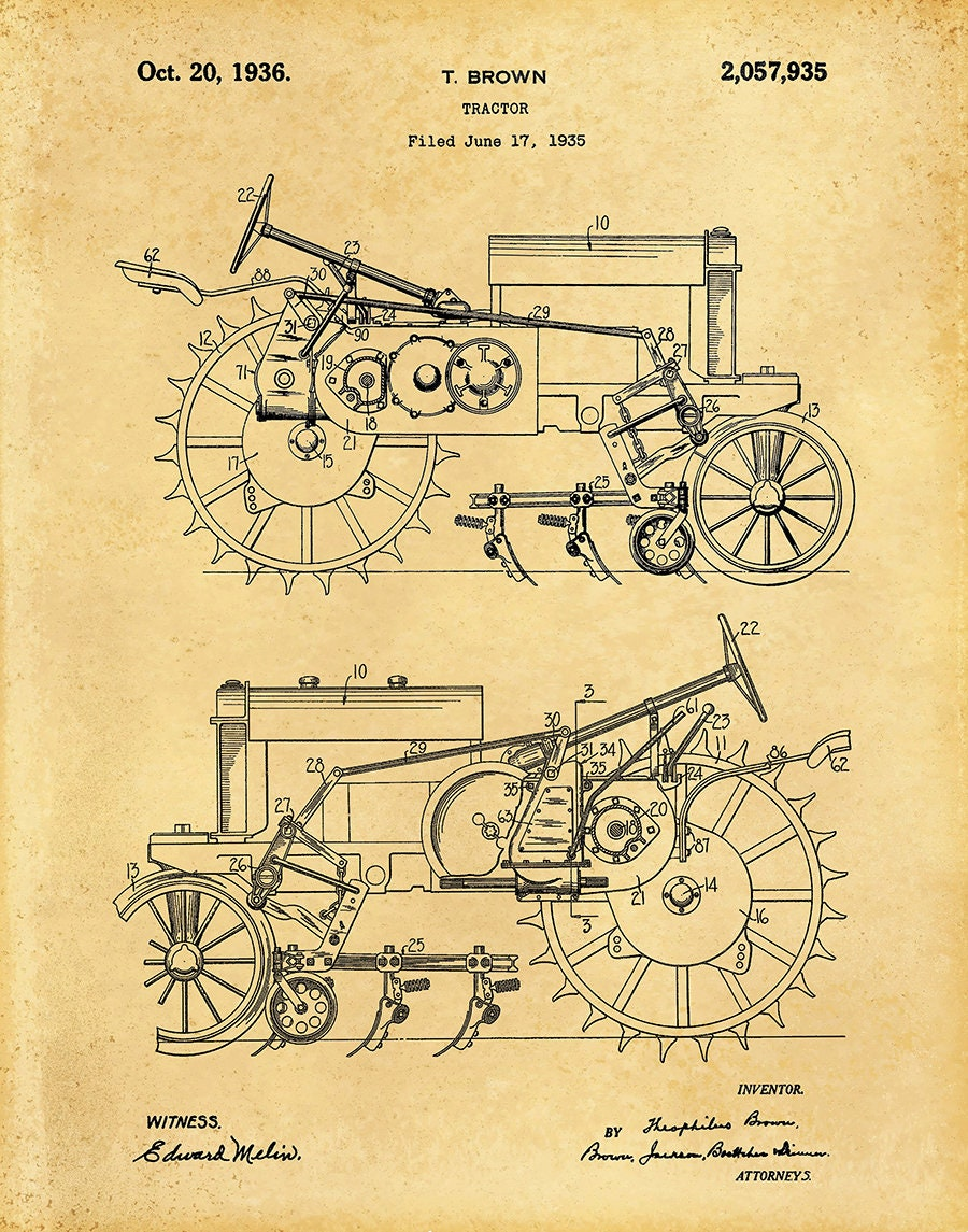 1935 John Deere B Tractor Patent Print Poster Agriculture Art Train Engine Diagram Gallery Photo