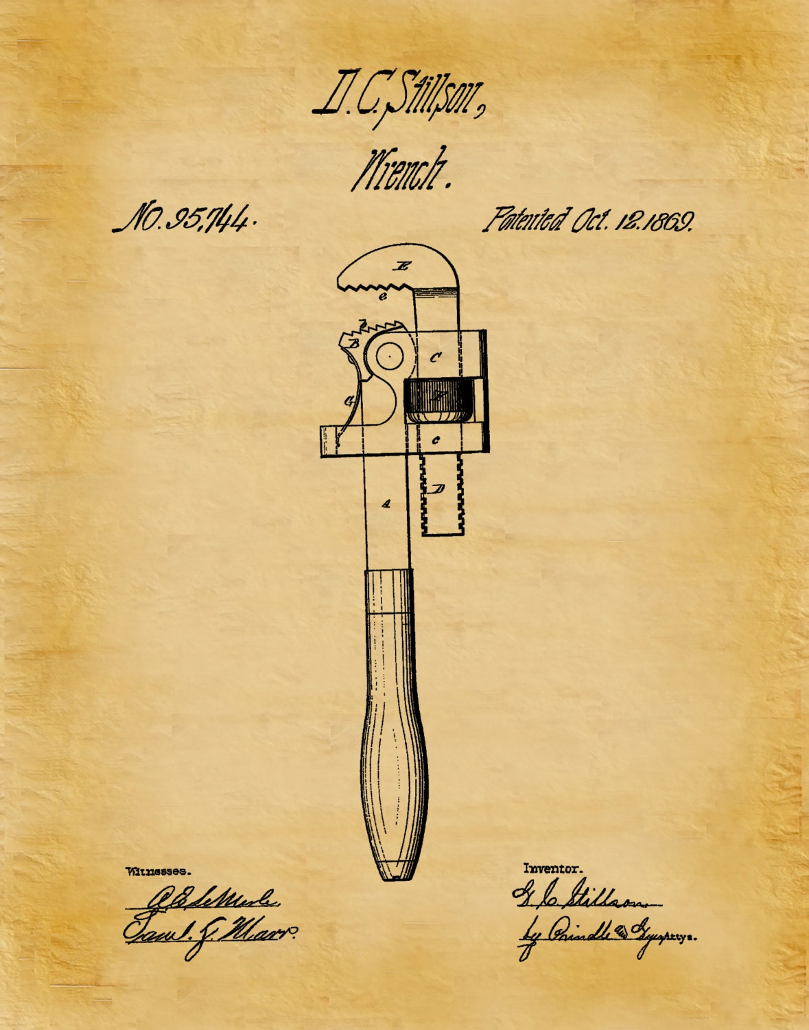 Patent 1869 Pipe Wrench Art Print - Poster - Plumber Wall Art ...