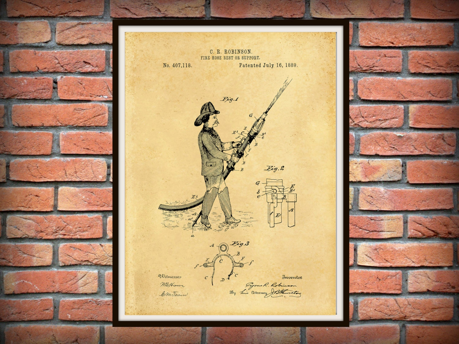 Patent 1889 Fire Hose Support or Rest Patent - Art Print - Poster ...