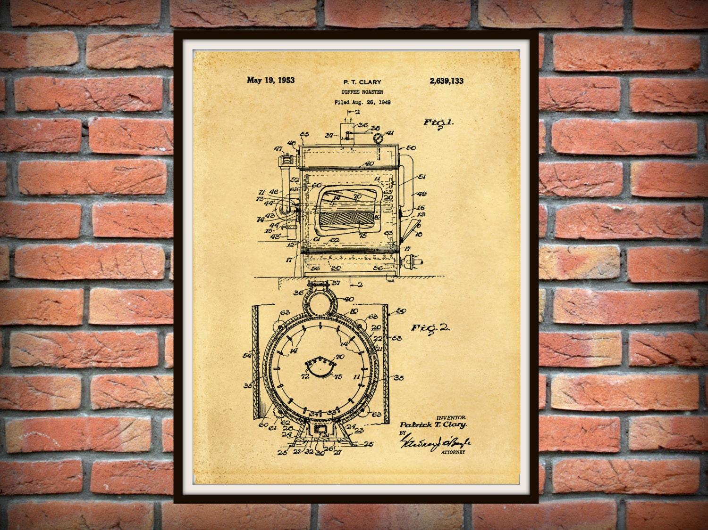 Patent 1949 Coffee Roaster - Wall Art Print - Kitchen Art- Poster ...