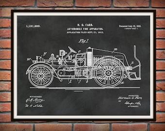 1916 Fire Truck Patent Print - Automobile Fire Apparatus Print - Fireman Gift - Firehouse Decor - Fire Fighter Poster