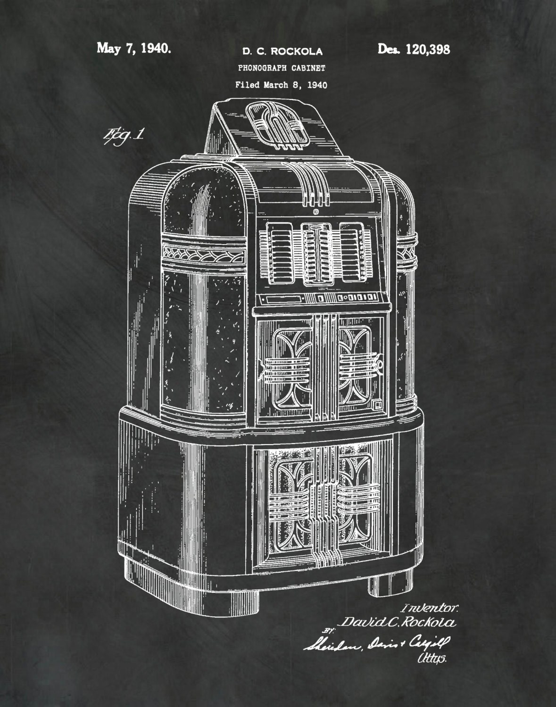 Patent 1940 Jukebox Phonograph Cabinet Designed by Rockola
