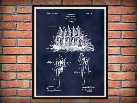 1927 Sailing Ship/'s Rigging Patent Print Marine Decor Clipper Ship Wall Decor Nautical Vessel Poster Art Vintage Schooner Blueprint