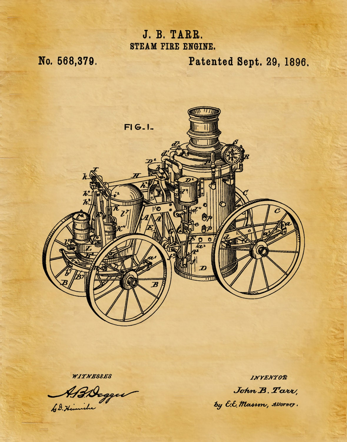 Patent 1896 Steam Fire Engine - Art Print - Poster - Wall Art - Fire ...
