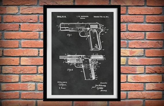 Patent Print Firearm M1911 Browning .45 Caliber Pistol Military Pistol