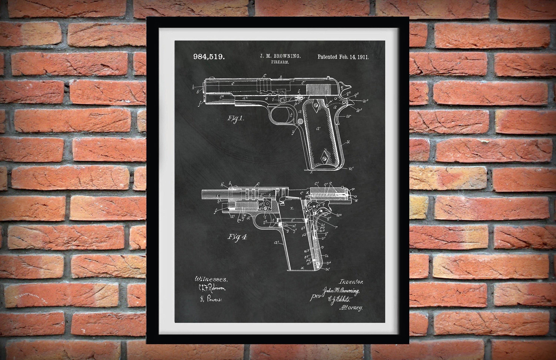 Display Art Print US PATENT for COLT 1911 FIREARM Browning Gun 45 1911