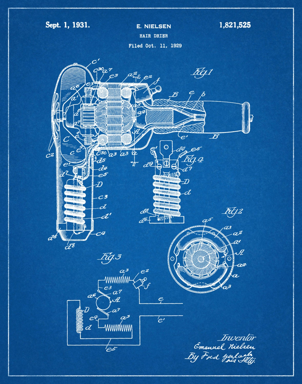 1931 Hair Dryer Patent Print - Poster - Barber Shop Decor ... Hair Dryer Schematic on