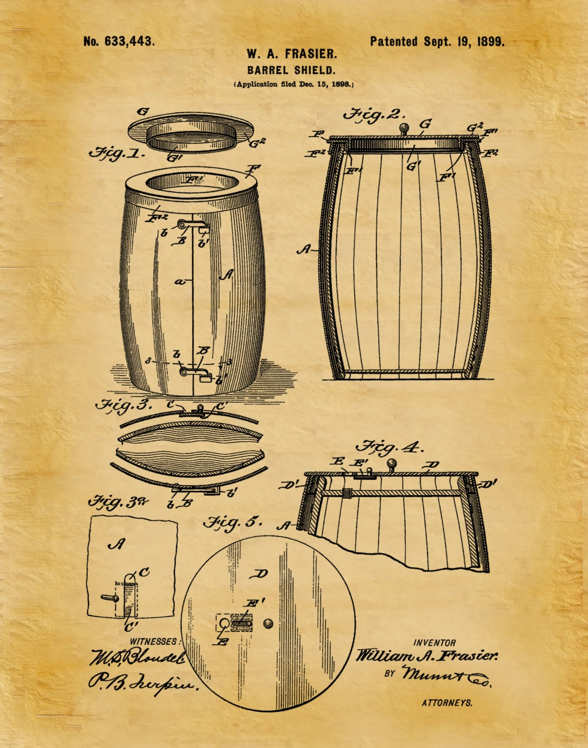 Patent 1899 Wine Barrel - Wine Art Print Poster - Wall Art - Winery ...