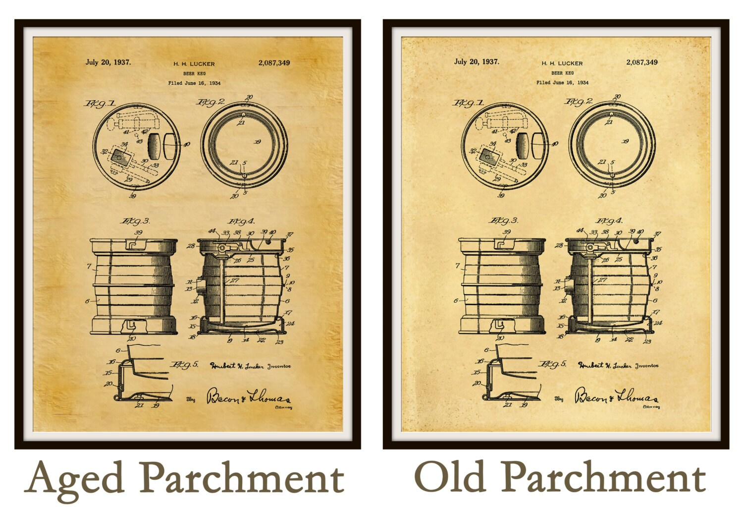 Patent 1934 Beer Keg - Beer Barrel - Art Print Poster - Wall Art ...