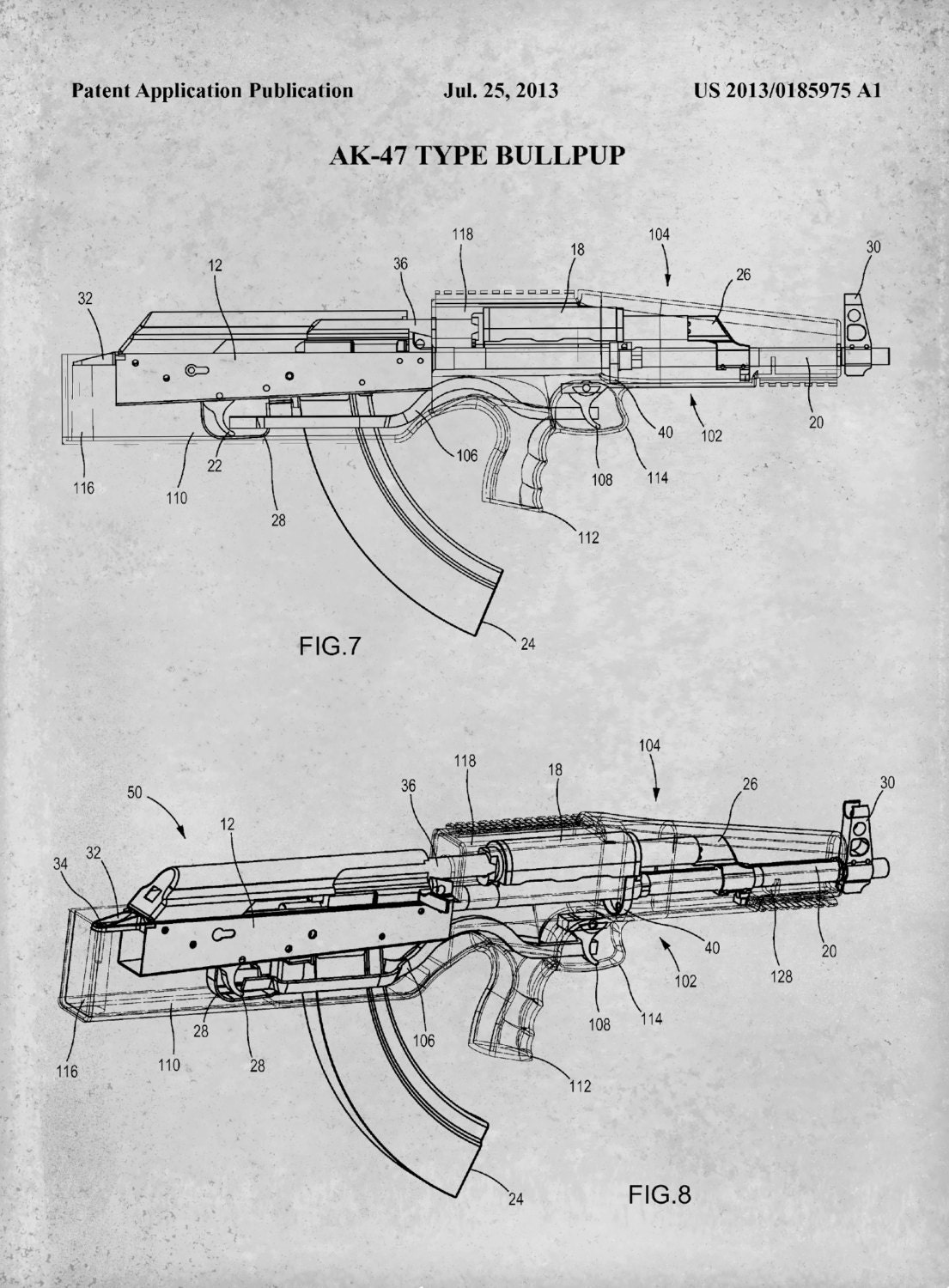 AK-47 Patent Print - Bull-Pup ault Rifle Patent Print ... on