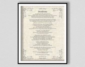 Desiderata Poem Art Print by Max Ehrmann, Inspirational Poem, Desiderata Poster, Desiderata Poetry Wall Art, Graduation Gift Idea