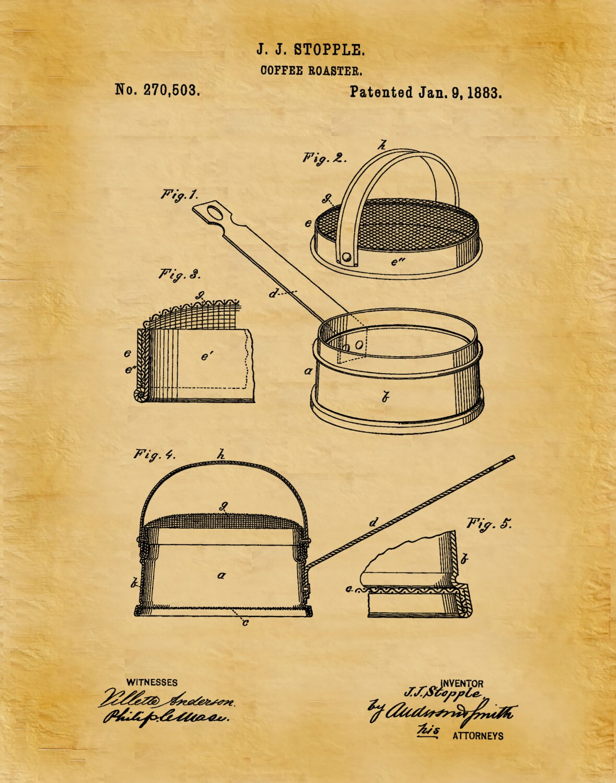 Patent 1883 Coffee Roaster - Wall Art Print - Kitchen Art- Poster ...