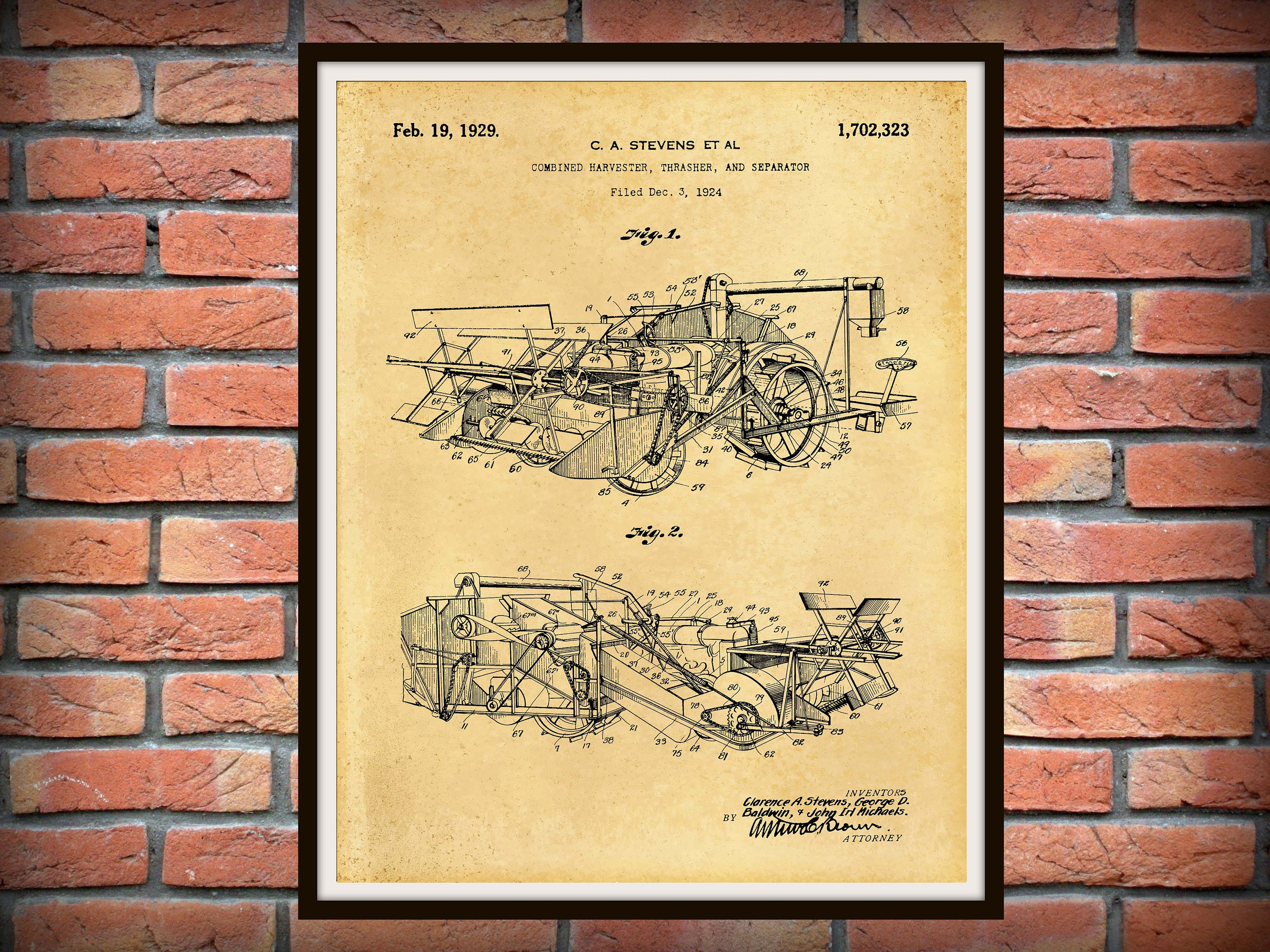 1929 Combine Harvester Thrasher Patent Print - Agriculture Wall Art ...